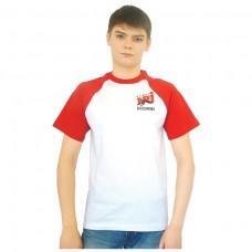 Футболка белая с красными рукавами Реглан