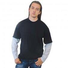 Футболка с длинным рукавом комбинированная Layered T черная/серая